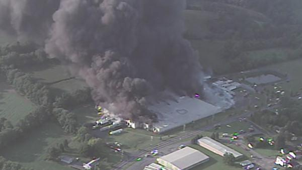 Fire at industrial warehouse in Plainfield Twp.
