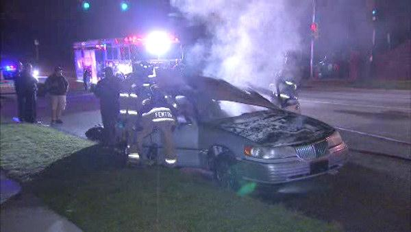 Driver escapes burning car on City Ave.