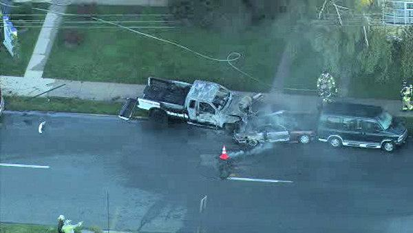 Explosion reported after crash in Norristown