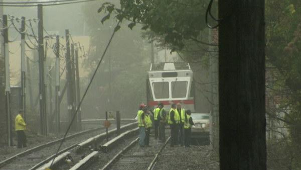 Train hits car in Haverford, Pa.