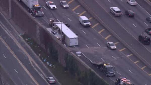 Overturned tractor trailer shut down part of I-76 W