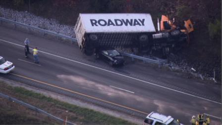 Overturned truck on Route 30