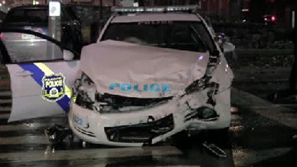 Police cruiser collides with another car