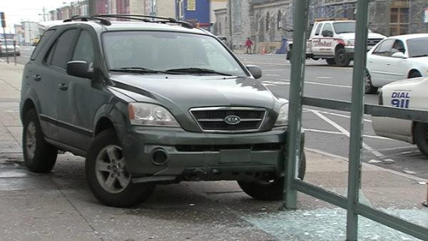 SUV slams into N. Philly bus stop; 1 hurt