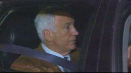 Jerry Sandusky in police car after hearing verdict