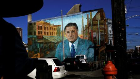 The mural A Tribute to Frank Rizzo by Diane Keller is seen in Philadelphia, Friday, Jan. 19, 2007.