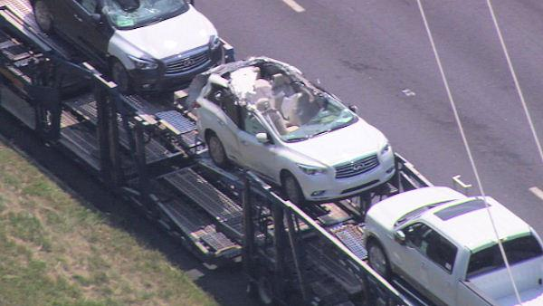 Car carrier crash on I-95
