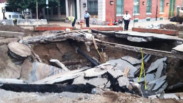 Work continues on water main, sinkhole