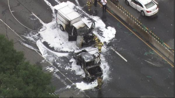 Fiery crash on I-95 in Chester