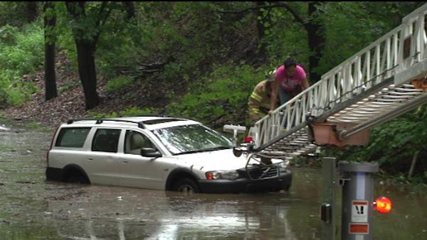 Woman rescued from flooded car in Delco