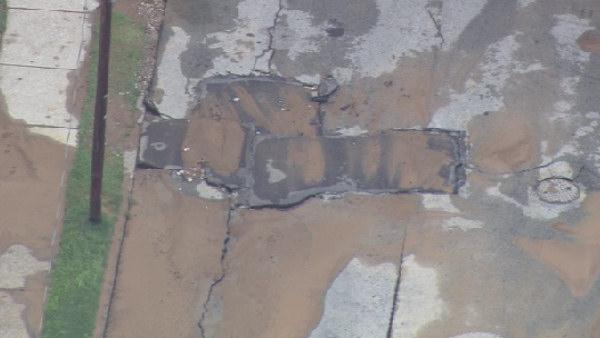 Water main break causes street collapse in Mount Airy