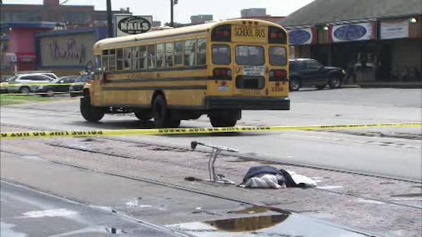 Pedestrian struck by school bus in Juniata Park