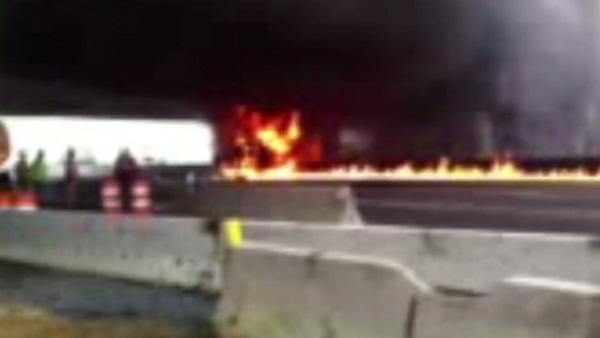 Driver killed in fiery truck crash on NJ Turnpike