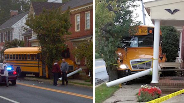 Del. school bus crashes, driver has apparent heart attack