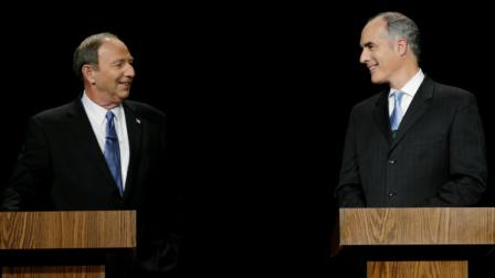 Republican Tom Smith and Democratic U.S. Sen. Bob Casey meet before a debate between Pennsylvanias candidates for U.S. Senate, at the WPVI-TV studio, Friday, Oct. 26, 2012, in Philadelphia. (AP Photo/Matt Rourke)