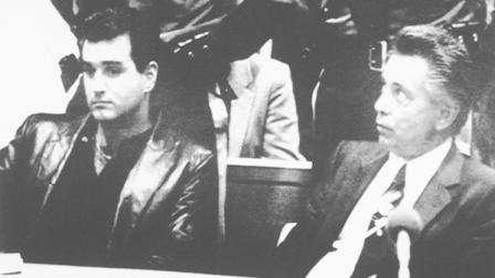 FILE - In this file photo from Nov. 3, 1986, Nicodemo Scarfo, lower right, and his nephew, Philip Leonetti, lower left, sit in court in Atlantic City, N.J., when the two were brought before a judge to hear new charges of racketeering, loansharking and gambling. Leonetti, a former Philadelphia underboss known as Crazy Phil has lived under an assumed name since leaving prison in 1992 and switching sides to help the FBI. In his new book, Mafia Prince, which comes out next week, he admits killing 10 people for his uncle, the notoriously ruthless 1980s-era mob boss Nicodemo Nicky Scarfo. (AP Photo/Pool, File)