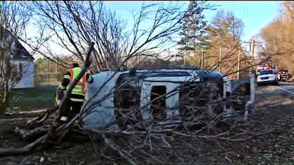 Woman hurt after SUV overturns in Delaware