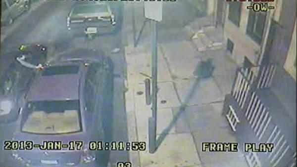 Vandal caught on video spray-painting car in North Philadelphia