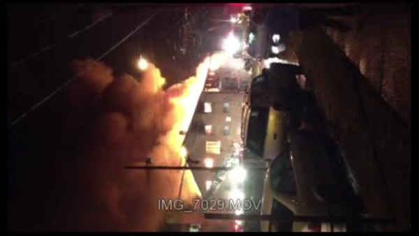 Viewer video of Creek Bank apartments fire in Eddystone, Pa.