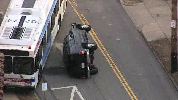 SEPTA bus veers onto sidewalk in West Mt Airy