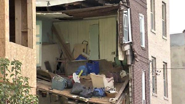 Partial house collapse in South Philadelphia