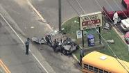 Crash involving school bus in Lindenwold, New Jersey