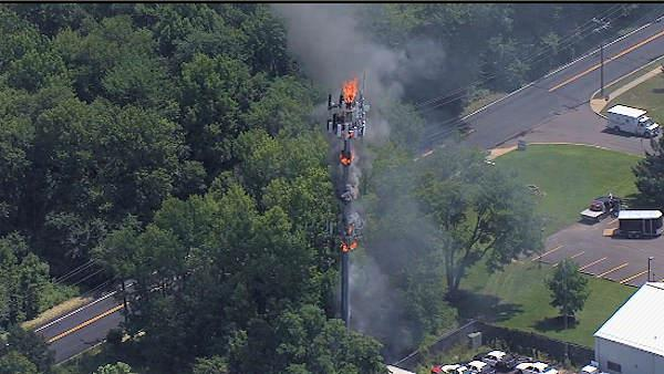 Communication tower fire in Bensalem, Pa.