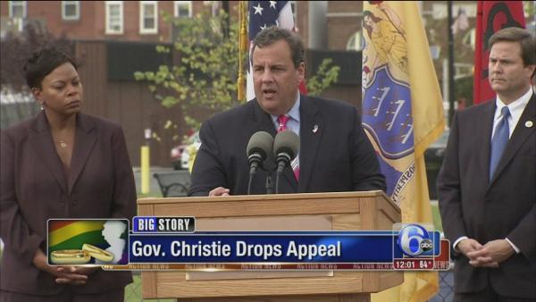 Christie withdraws appeal over same-sex marriages