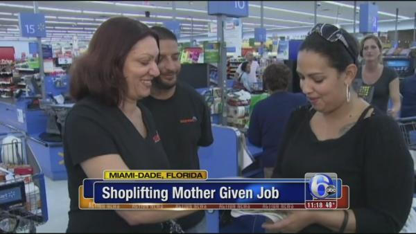 Mom caught shoplifting given job