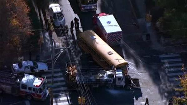 School bus collides with truck in E. Mt. Airy; injuries