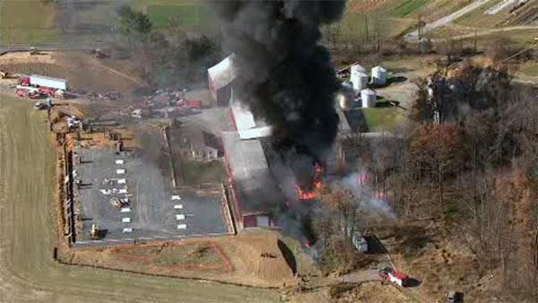 Massive fire burns in Lehigh County