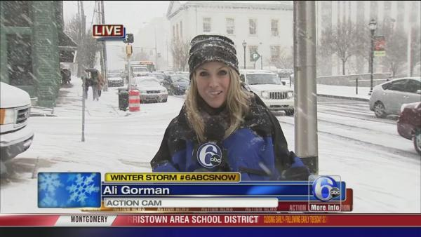 Ali Gorman on snow in Wilmington, Del.