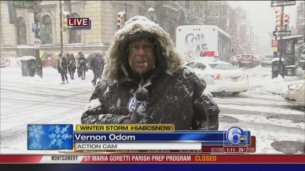 Vernon Odom on snow at Rittenhouse Sq.