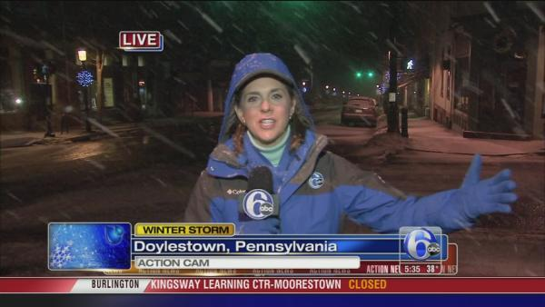 Amy Buckman on snow in Doylestown