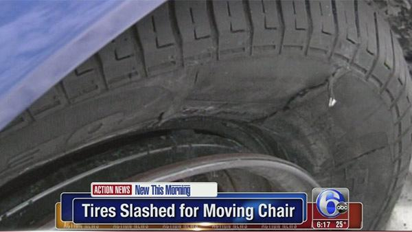 Snow rage - Tires slashed over parking space
