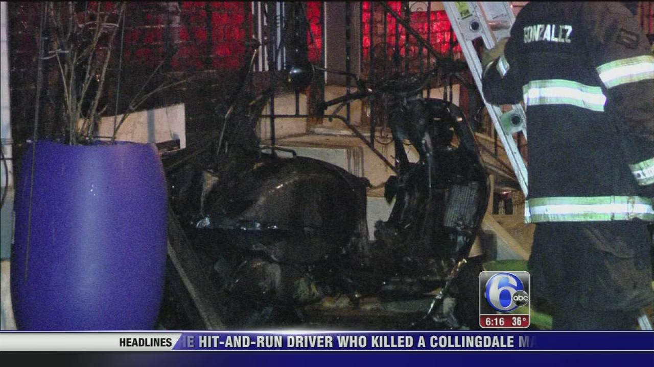 Motor scooter fire spreads to house in South Philadelphia