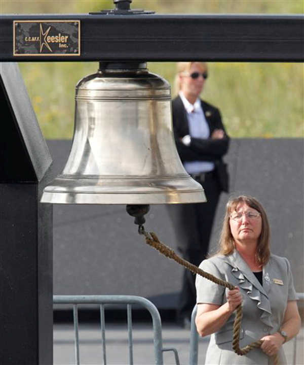 A bell is rung during the reading of the names of passengers and crew who died on Flight 93 during memorial services near the crash site of Flight 93 in Shanksville, Pa. Sunday Sept. 11, 2011.  <span class=meta>(&#40;AP Photo&#47;Gene J. Puskar&#41;)</span>
