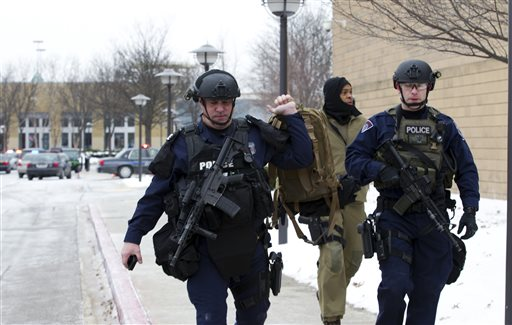 Pictured: The scene after a shooting at a mall in Columbia, Maryland on Saturday, Jan. 25, 2014.  (AP Photo/ Evan Vucci)