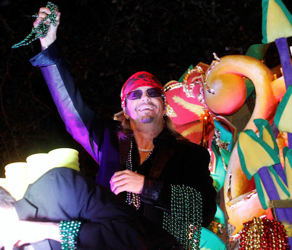 "<div class=""meta ""><span class=""caption-text "">Entertainer Bret Michaels holds a handful of beads while riding in the Mardi Gras parade in New Orleans, Monday, Feb. 20, 2012. (AP Photo/Bill Haber)</span></div>"