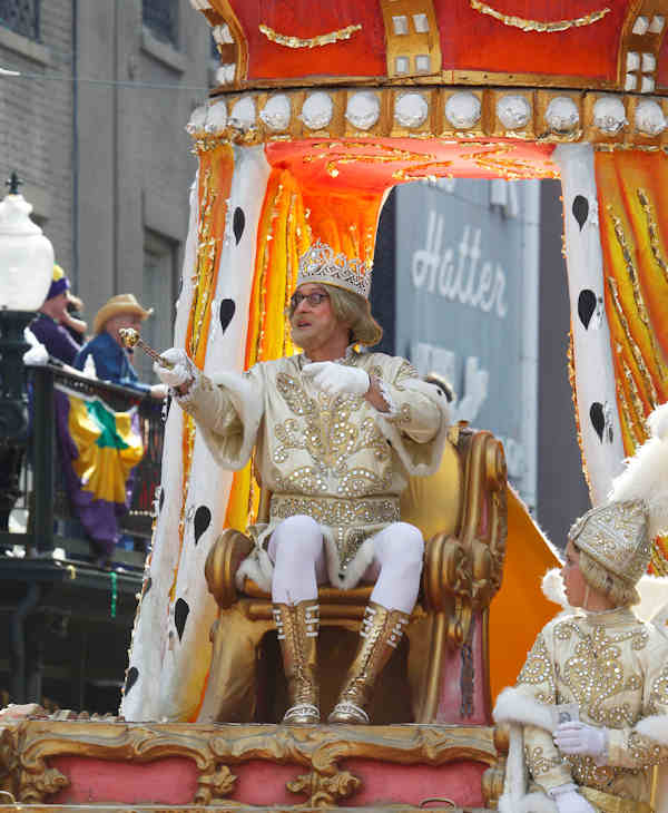 The Rex Parade moves through the central business district of New Orleans, Tuesday, Feb. 21, 2012. This is the last day of the Mardi Gras celebration ending at midnight, after a day long celebration of parades, marching groups and people in costumes. (AP Photo/Bill Haber)