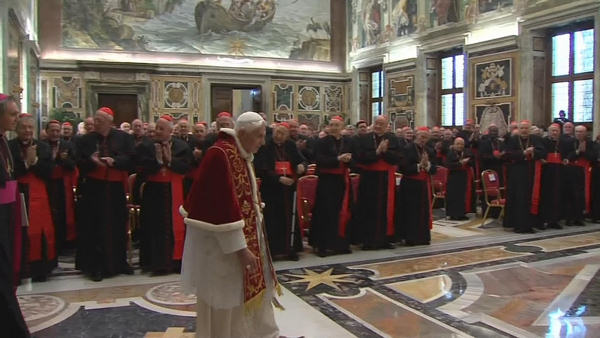 In this image taken from video as Pope Benedict XVI deliveres his final greetings to the assembly of cardinals at the Vatican Thursday Feb. 28, 2013, before he retires in just a few hours. Benedict urged the cardinals to work in unity and promised his &#34;unconditional reverence and obedience&#34; to his successor in his final words to his cardinals Thursday in a poignant and powerful farewell before he becomes the first pope in 600 years to resign. &#40;AP Photo&#47;Vatican TV&#41;   <span class=meta>(AP Photo&#47;Vatican TV)</span>