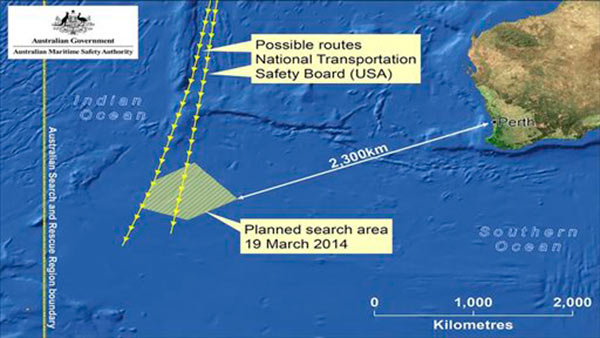 This graphic made Wednesday, March 19, 2014 and released by Australian Maritime Safety Authority &#40;AMSA&#41; Thursday, March 20, 2014, shows an area in the southern Indian Ocean that the AMSA is concentrating its search for the missing Malaysia Airlines Flight MH370 on. AMSA response division manager John Young has identified their search will cover a massive 600,000 square kilometers &#40;232,000 square miles&#41; area, saying it will take weeks to search thoroughly. Australian Prime Minister Tony Abbot said Thursday that two objects possibly related to the missing Malaysia Airlines flight have been spotted on satellite imagery in the Indian Ocean and an air force aircraft was diverted to the area to try to locate them.  <span class=meta>(AP Photo&#47;Australian Maritime Safety Authority)</span>