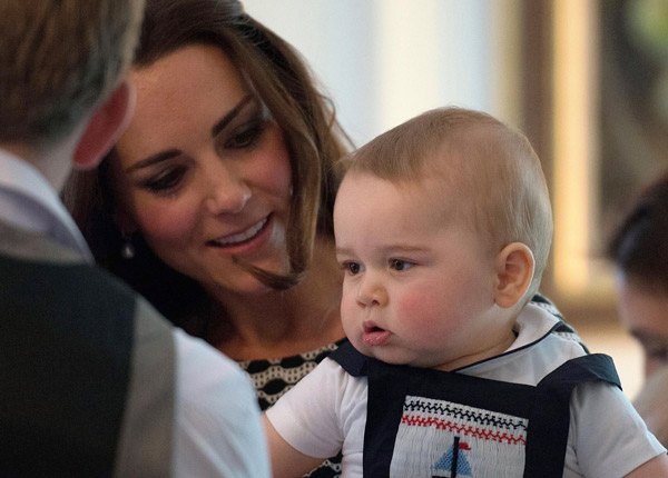 "<div class=""meta ""><span class=""caption-text "">Britain's Kate, the Duchess of Cambridge, holds Prince George during a visit to Plunket nurse and parents group at Government House in Wellington, New Zealand, Wednesday, April 9, 2014. Plunket is a national not-for-profit organization that provides care for children and families in New Zealand. Prince William, Kate and their son, Prince George, are on a three-week tour of New Zealand and Australia. (AP Photo/Marty Melville, Pool)    </span></div>"