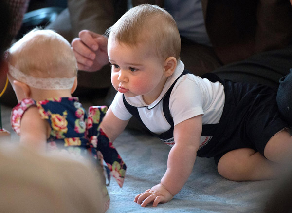 "<div class=""meta ""><span class=""caption-text "">Britain's Prince George, right, plays during a visit to Plunket nurse and parents group at Government House in Wellington, New Zealand, Wednesday, April 9, 2014. Plunket is a national not-for-profit organization that provides care for children and families in New Zealand. Britain's Prince William, his wife Kate, the Duchess of Cambridge and their son, Prince George, are on a three-week tour of New Zealand and Australia. (AP Photo/Marty Melville, Pool)        </span></div>"