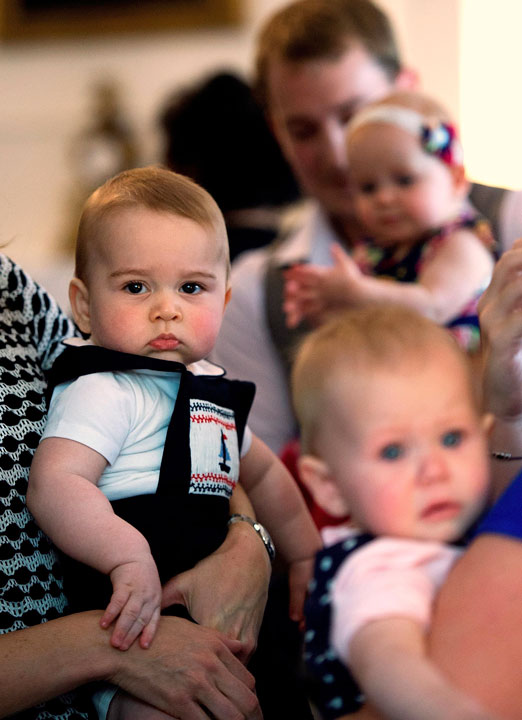 "<div class=""meta ""><span class=""caption-text "">Britain's Kate, the Duchess of Cambridge, holds Prince George, left, during a visit to Plunket nurse and parents group at Government House in Wellington, New Zealand, Wednesday, April 9, 2014. Plunket is a national not-for-profit organization that provides care for children and families in New Zealand. Prince William, his wife Kate and their son, Prince George, are on a three-week tour of New Zealand and Australia. (AP Photo/Marty Melville, Pool)            </span></div>"