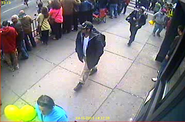 "<div class=""meta ""><span class=""caption-text "">The FBI released the following photos of two suspects in the Boston Marathon bombings during a press conference on Thursday, April 18, 2013. Suspect #1 is wearing a dark hat. Suspect #2 is wearing a white hat. </span></div>"