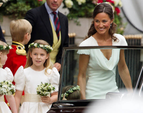 Maid of Honour Pippa Middleton, Kate Middleton&#39;s sister, right, and bridesmaid Margarita Armstrong-Jones, second from left, leave the Goring Hotel for Westminster Abbey ahead of the Royal Wedding, London, Friday, April, 29, 2011.  <span class=meta>(AP Photo&#47;Joel Ryan, Pool)</span>