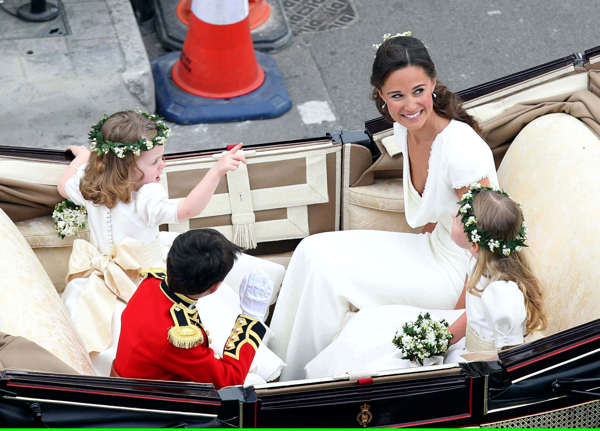 Maid of Honour Pippa Middleton arrives at the Westminster Abbey for the wedding of Britain&#39;s Prince William and Kate Middleton in central London April 29, 2011.  <span class=meta>(AP Photo&#47;Peter Jordan, Pool)</span>