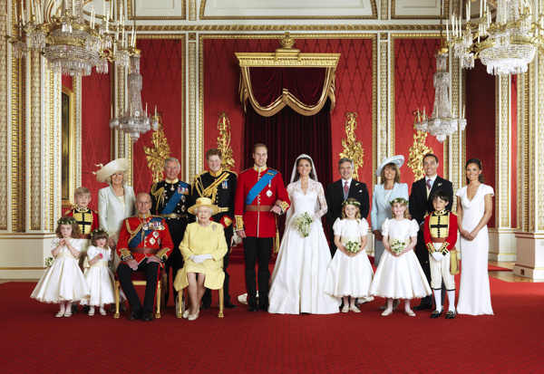 "<div class=""meta ""><span class=""caption-text "">In this photo provided by Clarence House on Saturday, April 30 2011, Britain's Prince William, center left, and his wife Kate, Duchess of Cambridge, center right, pose for a group photograph with, from back row left, Master Tom Pettifer, Camilla, Duchess of Cornwall, Prince Charles, Prince Harry, Michael Middleton, Carole Middleton, Philippa Middleton, and front row from left, Grace van Cutsem, Eliza Lopes, Prince Philip, Queen Elizabeth II, Margarita Armstrong-Jones, Lady Louise Windsor, and William Lowther-Pinkerton in the Throne Room at Buckingham Palace, following their wedding at Westminster Abbey, London, Friday, April 29, 2011.  (AP Photo/Hugo Burnand, Clarence House)</span></div>"