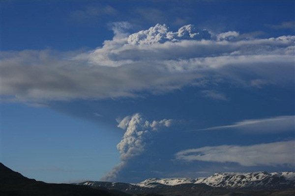Iceland's most active volcano has started erupting, scientists said Saturday, just over a year after another eruption on the North Atlantic island shut down European air traffic for days.  (AP Photo/Halldora Kristin Unnarsdottir)